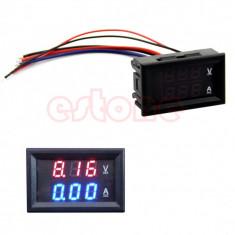 Ampermetru voltmetru digital afisaj dublu rosu albastru 10A DC 0-100 - Multimetre