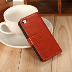 Husa / toc piele fina iPhone 4 / 4s lux, tip flip cover portofel, MARO CONIAC