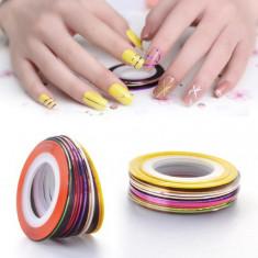 Unghii modele - Set banda decor/ 10 role pentru unghii false gel acril manichiura