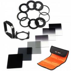 Set 6 filtre Cokin ND2 ND4 ND8 gradual ND2 ND4 ND8 + 9 inele adaptoare + holder Kent Faith