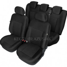 Set huse scaun model Poseidon Negru pentru Dacia Logan MCV, set huse auto Fata + Spate - Husa Auto