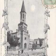 BUCURESTI, BISERICA LUTHERANA, CLASICA, TCV, CIRCULATA JUN.''904 - Carte Postala Muntenia pana la 1904, Printata