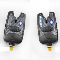 Set 4 Avertizori Senzori Marca FL Baterii 9 V 8 Leduri Semnal Pachet economic - Suport Pescuit