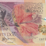 bancnota america, An: 2014 - Bancnota Trinidad & Tobago 50 Dolari 2014 - PNew UNC (polimer - bancnota anului)