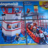 Lego Playmobil 5539 Statia de Salvamari cu Far Luminos si Barca Motor electric