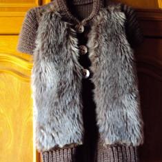 Vesta tricotata cu blana - Vesta dama, Marime: 36, Culoare: Maro