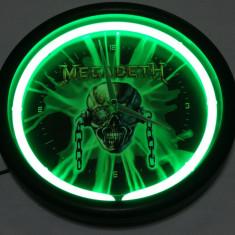 Ceas de perete Megadeth cu neon verde