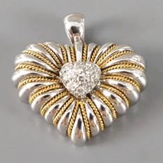 Pandantiv inima aur 18K cu 12 diamante