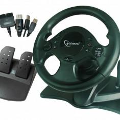Volan cu pedale GEMBIRD (STR-SHOCKFORCE-M), 15 butoane, cu fir USB pentru PC/PS2/NINTENDO/XBOX, vibratii, Negru