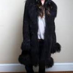 Haina dama BSB, noua, neagra, piele si blana naturala, L - Palton dama, Marime: L, Culoare: Negru