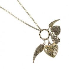 Pandantiv inima bronz vintage - Lantisor fashion