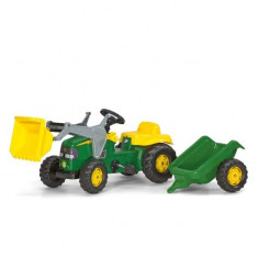 Tractor cu Pedale si Remorca 023110 Verde Rolly Toys - Vehicul