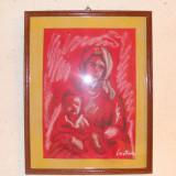 Tablou in carbune si pastel cretat alb.23, 5/33, 5 cm. - Pictor roman, Portrete, Impresionism