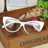 Ochelari de dama / fete Cat Eyes lentila transparenta fara dioptrii ALB, Femei, Ochi de pisica