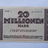 Germania 20 Millionen Mark 1923 Düsseldorf VF+++ - bancnota europa