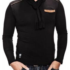 Bluza Barbati Carisma Neagra cu Esarfa C-3039, Marime: S, XXL, Culoare: Din imagine