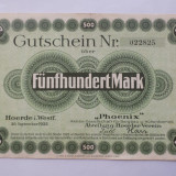 Germania 500 Mark 1922 Hoerde VF - bancnota europa, An: 1923