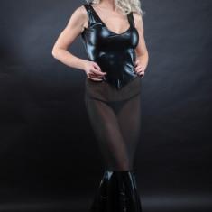 Lenjerie Lady Lust Sexy 310 Rochie Transparenta Dansatoare Piele Eco Domina - Lenjerie sexy dama, Culoare: Negru, Marime: One size