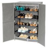 Pantofar textil cu 5 rafturi cu inchidere magnetica gri - Raft/Etajera