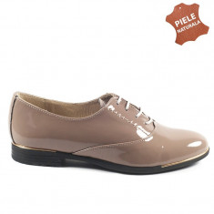 Pantofi dama piele naturala LOLA tabac lac (Marime: 36) - Pantof dama