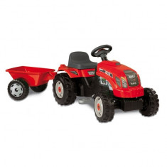 Tractor copii 033045 Farmer Red cu remorca si pedale Smoby - Vehicul