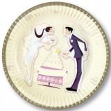 10 Farfurii nunta cununia civila din carton 18cm