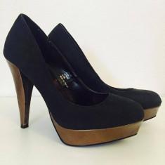 Pantof bicolor dama, marime 38, toc 13 cm, marca NEXT - Pantof dama Next, Culoare: Negru