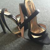 Sandale - Sandale dama, Marime: 38, Culoare: Negru