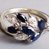 Inel frunza stilizata aur 18K cu 5 safire si 3 diamante - Inel diamant, Culoare: Alb, 46 - 56