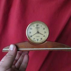 Ceas Slava de masa cu 11 rubine, ceas vechi comunist URSS cu suport din lemn - Ceas de masa