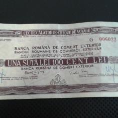 Cec de calatorie 100 lei 1975 - Cambie si Cec