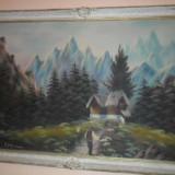 Tablou pictura u/p semnat p cazan - Pictor roman, Peisaje, Ulei, Altul