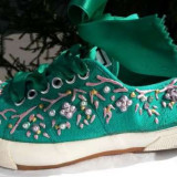 Tenisi dama Adidas UMBERTO BIANCHI nr.39 originali stare de nou, Culoare: Verde, Textil
