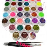 Set 36 geluri UV Color cu sclipici ENS PRO pentru Lampa UV + CADOU - Gel unghii