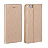 Husa Samsung Galaxy A7 A710 (2016) Flip Case Inchidere Magnetica Gold - Husa Telefon Samsung, Auriu, Piele Ecologica, Cu clapeta, Toc