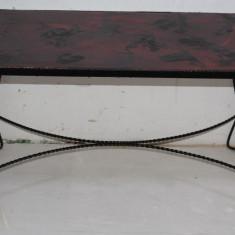 Eleganta masuta de cafea din fier forjat; Masa metalica - Masa living